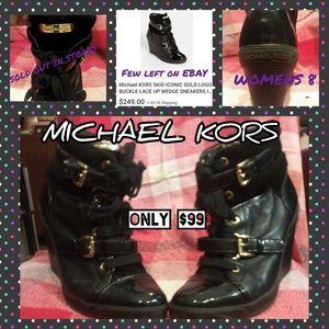 MK wedge ankle booties